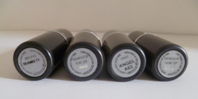 MAC Neutral Lipsticks: L-R, Half n' Half, Jubilee, Shy Girl & Myth