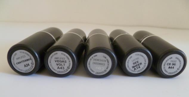 MAC Mid-Tone Lipsticks: R-L, Chatterbox, Vegas Volt, Crosswires, See Sheer & CB96