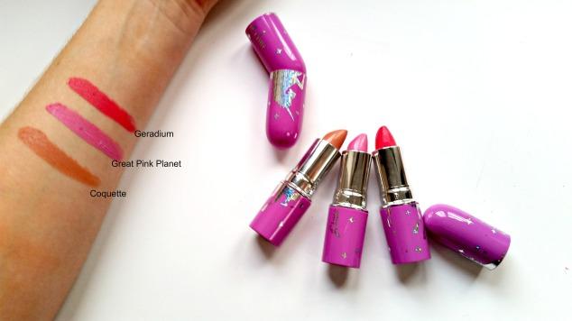 Limecrime Lipsticks: Coquette, Big Pink Planet & Gerdanium