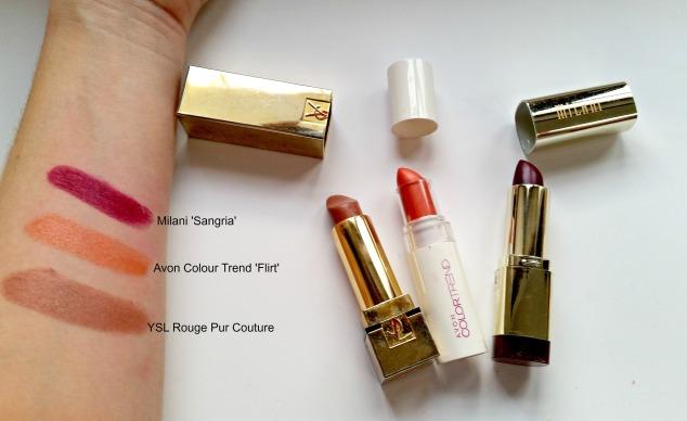 YSL Rouge Pur Couture, Avon Colour Trend Flirt & Milani SangriaYSL Rouge Pur Couture, Avon Colour Trend Flirt & Milani Sangria